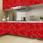 KINLO Stickers Meubles Autocollants Décorations Films Motifs Papier Peint Auto-adhésif 1 Rouleau 5 x 0,61 m en PVC pour Armoires Placards Frigos de Cuisine - Rouge de la marque KINLO image 1 produit