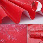 KINLO Stickers Meubles Autocollants Décorations Films Motifs Papier Peint Auto-adhésif 1 Rouleau 5 x 0,61 m en PVC pour Armoires Placards Frigos de Cuisine - Rouge de la marque KINLO image 3 produit