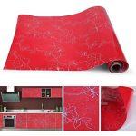 KINLO Stickers Meubles Autocollants Décorations Films Motifs Papier Peint Auto-adhésif 1 Rouleau 5 x 0,61 m en PVC pour Armoires Placards Frigos de Cuisine - Rouge de la marque KINLO image 2 produit