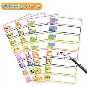 KIPEPEO Autocollantes Nom Étiquette Résistant à l'eau Durable pour les Bouteilles de Poubelle Bocaux Boîte à lunch, Nom Étiquettes 16 par Feuille 1 Stylo (96 Étiquettes) de la marque KIPEPO image 0 produit