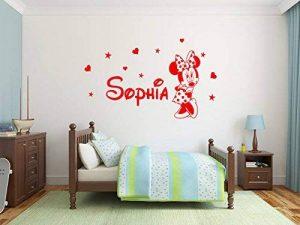 Le nom et Mickey Mouse de l'autocollant personnalisé de mur autocollant. Autocollant de mur de Minnie mouse sticker. Sticker mural avec le nom d'un enfant et Mickey Mouse. Une belle décoration murale avec le nom d'un enfant. Autocollant de mur de souris d image 0 produit