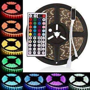 LEDMO RGB Ruban LED Kit 12V DC, 300 LEDs, IP65 Lumières Bande LED étanches bande LED 5m ruban LED + 44 Télécommande IR clé inclus, Lumières RVB Ruban LED multicolores, éclairage de décoration de fête et pour l'éclairage de cuisine à domicile. de la marque image 0 produit