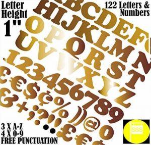 Lettres et chiffres Lot de 122pcs X 2,5cm (2.5cm) Autocollant = Police Cooper Stickers gratuit ponctuation garanti Grande Lettrage Sign-writing Water Proof tous les projets 25 mm doré de la marque FONT COOPER image 0 produit