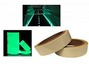 Lot de 210m x 2,5cm Glow in the Dark Vert Luminous de sécurité clair ruban adhésif autocollant lumineux dans l'obscurité fluorescent lumineux bande de marquage en de la marque MEGA-TAPE Klebebänder image 0 produit