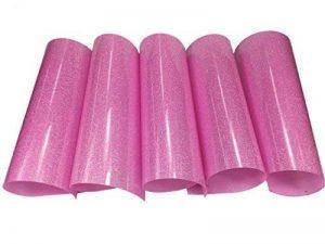 Lot de 5 planches de vinyle thermocollant à paillettes avec dos adhésif Couleurs rose pour projets de loisirs créatifs, planches de 25,5 x 25,5 cm pink de la marque SuperHandwerk image 0 produit