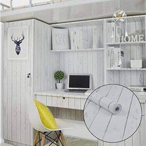 Lovefaye Bande de revêtement en papier autocollant style nordique blanc grain de bois pour meuble 45 x 298,7cm de la marque LoveFaye image 0 produit