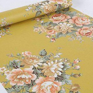 Lovefaye Papier adhésif rétro avec impression de pivoine, jaune foncé pour étagère, commode, tiroir 44cmx3m environ de la marque LoveFaye image 0 produit