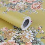 Lovefaye Papier adhésif rétro avec impression de pivoine, jaune foncé pour étagère, commode, tiroir 44cmx3m environ de la marque LoveFaye image 1 produit
