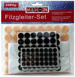 M&H-24 Set 248 Patins autocollants Tampon auto-adhésif en feutre pour pied meuble, chaise, table - Plusieurs formes Rond de la marque M&H-24 image 0 produit