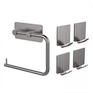 MAPUX Porte-Papier Toilette avec 4 Crochets Support Papier Toilette en Acier Inox Adhésif 3M Porte-Rouleau pour Papier WC Salle de Bain de la marque MAPUX image 0 produit