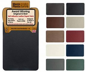 MastaPlasta Self-Adhesive Leather Repair Patch. New XL 28cmx20cm. Choose colour. First-aid for sofas, car seats. Fix holes, rips, burns, stains (BLACK XL) de la marque MastaPlastaLtd image 0 produit