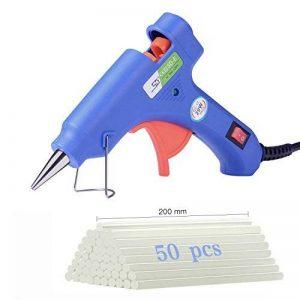 Mini Pistolet à Colle Chaud avec 50pcs Bâtons de Colle (7*200mm), Pistolet de Haute Temperature pour Bricolage, Réparations Rapides Maison, Création Bijoux, DIY Artisanat Kits (20W, Bleu) de la marque Charlemain image 0 produit