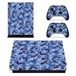 Morbuy Série étoilée Xbox One X Vinyl Decal Autocollant Skin Sticker Pour Microsoft Xbox One x 1 et le Manette x 2 Manette Set Autocollant+ 10pc Silicone Thumb Grips (Camouflage bleu foncé) de la marque Morbuy image 1 produit