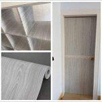 Papier adhésif aspect bois pour comptoir, cuisine, armoires, mur, table, porte, bureau (gris, largeur de 45cm sur une longueur de 10m) de la marque F&U image 1 produit