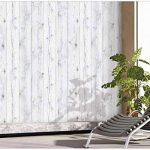 Papier peint mural autocollant - Bois blanchi vintage - 50cm X 3m - Epaisseur de 0,15mm - Etanche - PPVC - Amovible - Pour cuisine, chambre, salon, salle de bain, étagère, enL_WoodPanenL_V_White_1P de la marque enLavish image 4 produit
