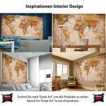 Papier peint photo Mappemonde - Motif vintage retro - Image murale XXL du Mappemonde - Décoration murale 210 cm x 140 cm de la marque GREAT ART image 3 produit