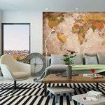 Papier peint photo Mappemonde - Motif vintage retro - Image murale XXL du Mappemonde - Décoration murale 210 cm x 140 cm de la marque GREAT ART image 1 produit