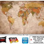 Papier peint photo Mappemonde - Motif vintage retro - Image murale XXL du Mappemonde - Décoration murale 210 cm x 140 cm de la marque GREAT ART image 2 produit