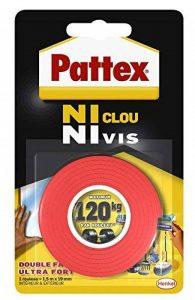 Pattex Ruban adhésif Ni clou ni vis double face - Fixation ultra forte et extra résistante - 1 x 19 mm x 1,5 m de la marque Pattex image 0 produit