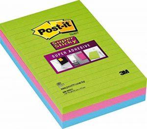 Post-it Notes Super Sticky Lignées Néon - 101 x 152 mm - Lot de 3 de la marque Post-It image 0 produit