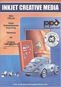 PPD film vinyle autocollant, brillant, format a4, 20 feuilles de la marque Photo Paper Direct image 0 produit