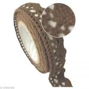 Ruban tissu adhésif - Dentelle coton Chocolat - 2,5 m. de la marque Pw International image 0 produit