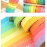 Ruban Washi, Ailiebhaus Adhésif masquant Autocollant coloré rainbow Tapes DIY Rubans Étiquettes 10 rouleaux de la marque Ailiebhaus image 4 produit