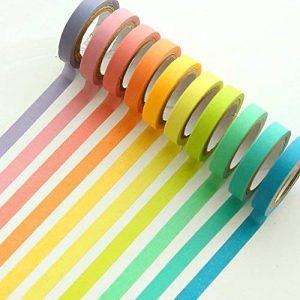 Ruban Washi, Ailiebhaus Adhésif masquant Autocollant coloré rainbow Tapes DIY Rubans Étiquettes 10 rouleaux de la marque Ailiebhaus image 0 produit