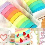 Ruban Washi, Ailiebhaus Adhésif masquant Autocollant coloré rainbow Tapes DIY Rubans Étiquettes 10 rouleaux de la marque Ailiebhaus image 2 produit
