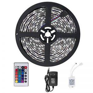 SENDIS Ruban LED Etanche 5M 3528 RGB Multicolore SMD 300 LED Bande Flexible Lumineux Strip Light + Télécommande à infrarouge 24 touches + Alimentation 2A 12V de la marque SENDIS image 0 produit