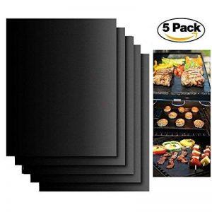 Set de 5 Tapis pour griller Barbecue Plaque de barbecue et Pâtisserie en Silicone avec Revêtement Teflon anti-adhésif pour à 380 °C, Idéal pour Barbecue au Charbon de Bois, Barbecue, Four, de Vapeur Électronique Four, Micro-ondes, 40*33cm pour Barbecue Ga image 0 produit