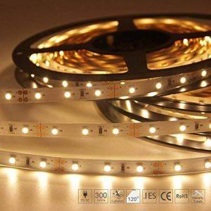 Signcomplex Bande LED flexible 3528 SMD Ruban LED avec ruban autocollant 3M 5m une bobine 12V DC (Blanc chaud) de la marque Signcomplex image 0 produit