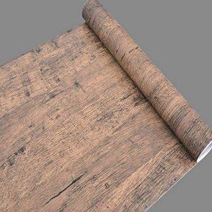simplelife4u en bois Marron Papier peint pour chambre salon sticker autocollant Contact pour porte PAPIER de la marque LoveFaye image 0 produit