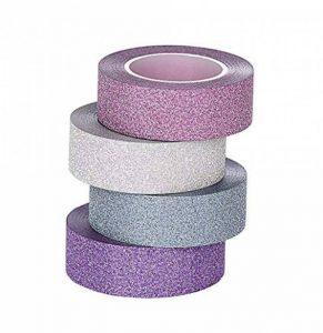 ST Glitter Washi Tape- Paillettes Washi Ruban Adhésif,15mm x 9.1m chaque, Lot de 4 Rouleau de la marque ST tape image 0 produit