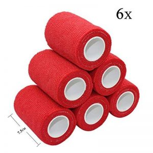 STpro 7,5cm x 6 Pièces Rouge Cohésive Bandage Sportif Bandages Autocollant Cohésif Wrap Bande Coton Autocollante Élastique Adhesif Ruban Sport Auto Adhesive Band de la marque STpro image 0 produit