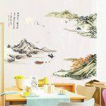 Susu Autocollants Chinois style encre paysage stickers muraux chambre salon TV fond stickers muraux autocollants auto-adhésif papier peint autocollants de la marque Susu image 1 produit