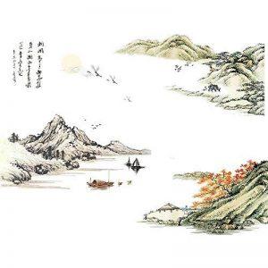 Susu Autocollants Chinois style encre paysage stickers muraux chambre salon TV fond stickers muraux autocollants auto-adhésif papier peint autocollants de la marque Susu image 0 produit