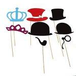TinkSky 60pcs Accessoires Photobooth Masquerade Accessoires de Photos Lèvre/ Lunettes/ Cravate/ Couronne/ Lunettes/ Moustache Avec Bâton de la marque TinkSky image 2 produit