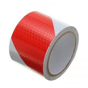 Tuqiang® 300cm × 5cm Rouge avec Blanc sergé Bande réfléchissante Autocollant d'avertissement de sécurité de visibilité Nuit Bande réfléchissante ruban film autocollant de la marque Tuqiang image 0 produit