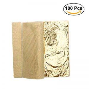 ULTNICE Imitation Feuille d'or pour Décoration Emballage Encadrements Artisanat Décoration 100 Feuilles de la marque ULTNICE image 0 produit