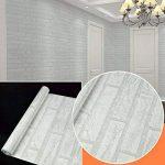 Uniquebella Papier peint Auto-Adhésif Trompe l'oeil 45cmx10M Brique Blanche Stickers Autocollant Muraux Décoration pour Chambre Salon Meuble de la marque UNIQUEBELLA image 2 produit