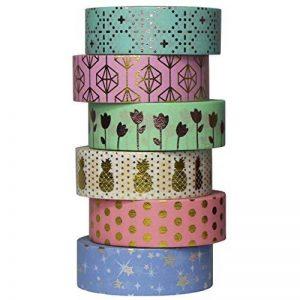 UOOOM 6 rouleaux Washi Tape Doré Ruban Adhésif Papier Décoratif Masking tape Scrapbooking de la marque UOOOM image 0 produit