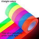 UV Blacklight Reactive Glow dans la bande sombre, fluorescent / néon Gaffer Tape (0,5 po x 16,5 pieds) 6 pièces de la marque AISIGE image 1 produit
