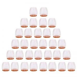 VABNEER Silicone chaise casquettes pieds 25-29 mm Embouts en silicone antidérapant Anti-Scratches Feet Pads Avec Antidérapant feutre Pour les jambes rondes de chaise (32Pcs/Transparent) de la marque VABNEER image 0 produit