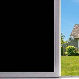 VELIMAX Film Noir Vitre Film de Fenêtre Auto-Collant Protége Intimité Film Opaque Sticker Noir Décoratif (90x200CM) de la marque VELIMAX image 0 produit