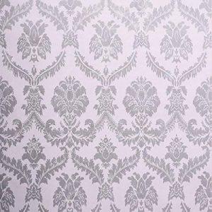 Waahome papier peint, damas papier peint pour la maison cuisine chambre salle de bains, PVC, gris, 32.8ft X 17.7in de la marque WaaHome image 0 produit
