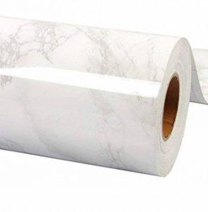 WDragon Film adhésif papier peint brillant pour plan de travail de cuisine, en vinyle imprimé marbre blanc gris, 61x 200,7cm de la marque WDragon image 0 produit