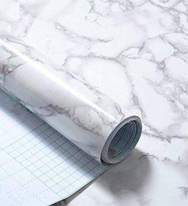 WDragon Revêtement autocollant en vinyle pour plan de travail de cuisine Motif marbre Blanc/gris 30,5x 200,7cm de la marque WDragon image 0 produit