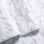 WDragon Revêtement autocollant en vinyle pour plan de travail de cuisine Motif marbre Blanc/gris 30,5x 200,7cm de la marque WDragon image 1 produit