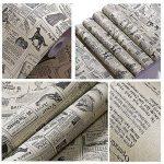 Yazi papier peint autocollant en PVC, Style méditerranéen, étanche, épais, pour le salon, motif Journal, 60x 300cm de la marque yazi image 2 produit